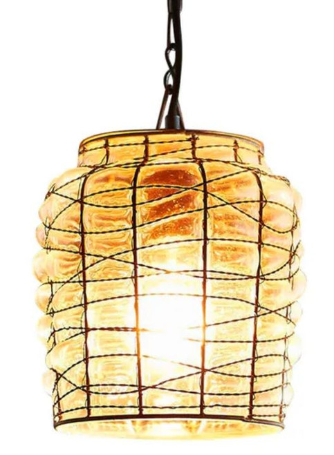 Montana Drum Wire Glass Pendant Light