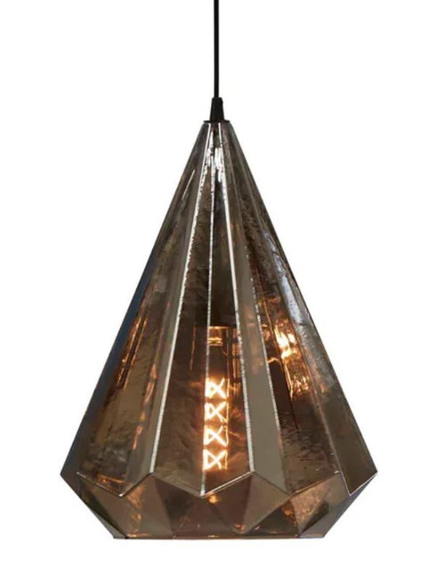 Montpellier Smoke Grey Faceted Glass Pendant Light