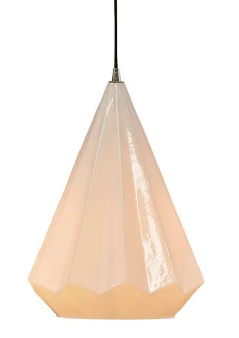 Montpellier Opal White Faceted Glass Pendant Light - Large