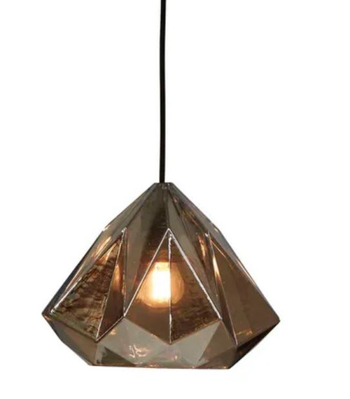 Citrine Smoke Grey Glass Droplet Pendant Light