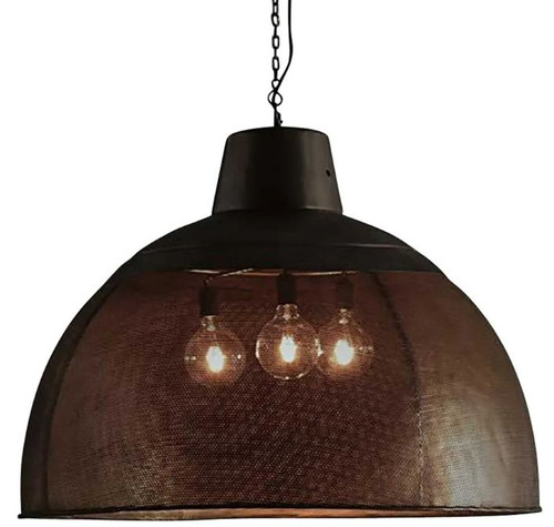 Zircon Perforated Black Dome Pendant Light  - Extra Large
