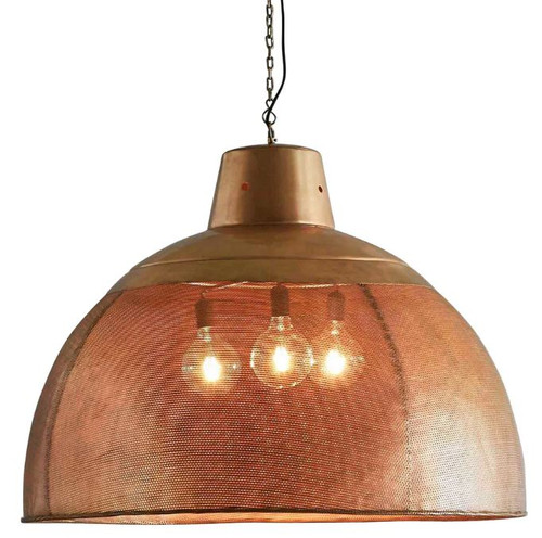 Zircon Perforated Brass Dome Pendant Light - Extra Large