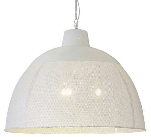 Zircon Perforated White Dome Pendant Light - Extra Large