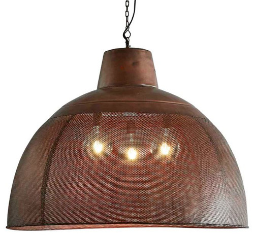 Zircon Perforated Copper Dome Pendant Light - Extra Large