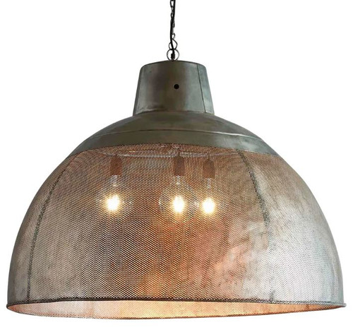 Zircon Perforated Zinc Dome Pendant Light - Extra Large