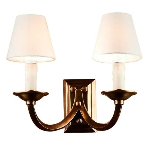 Edina Two Arm Antique Brass Traditional Wall Light