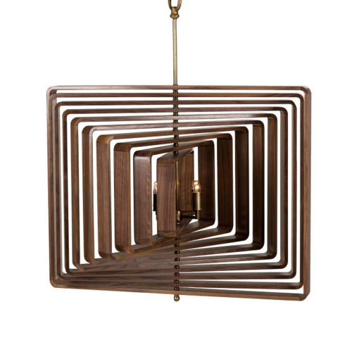 Landon 4 Light Spinning Walnut Timber Pendant Light