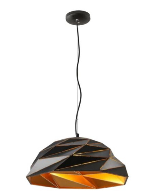 Jigsaw Black and Gold Dome Pendant Light