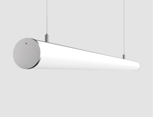 Curvo Sleek Chrome Opaque Linear Pendant Light