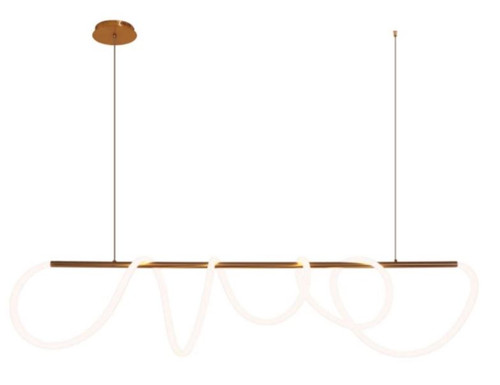 Twist Satin Brass Linear Pendant Light