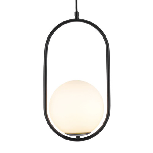 Ada Matt Black Glass Ball Pendant Light