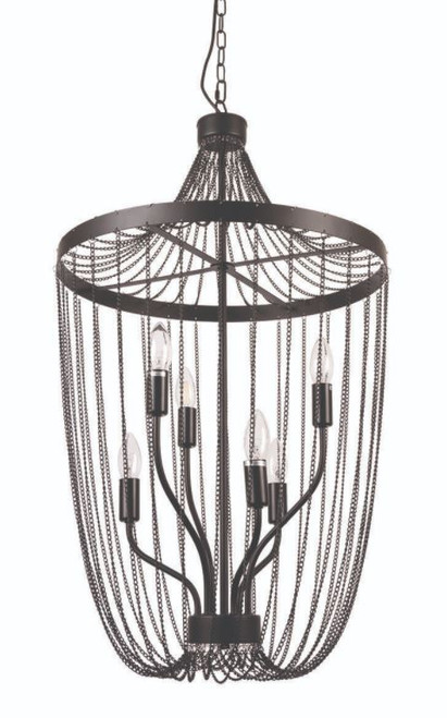 Thalia Black Chain 6 Light Pendant Light