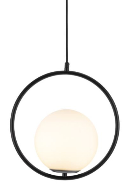 Zenith Matt Black Glass Ball Pendant Light