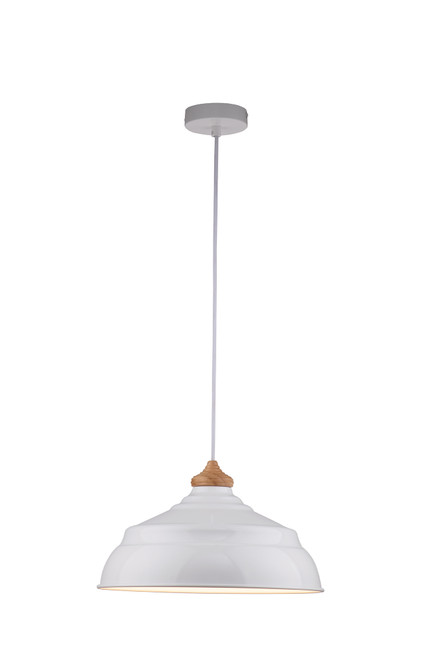 Harley Gloss White Metal Pendant Light