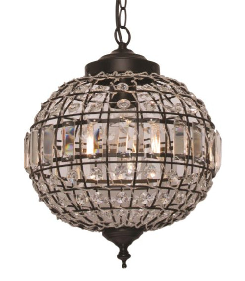 Isabella 1 Light Black Pendant Light