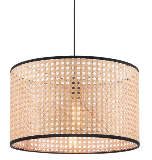 Zia Black Woven Rattan Pendant Light