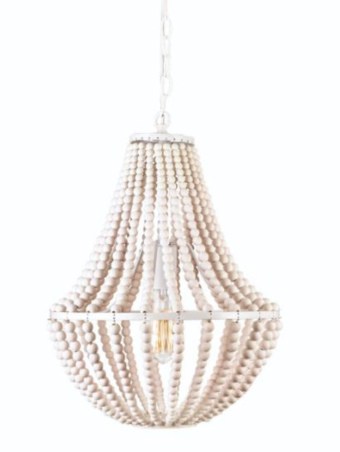 Waco 1 Light White Wooden Bead Pendant Light