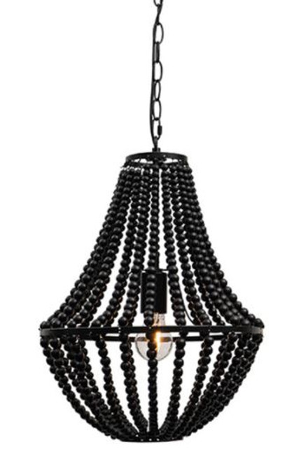 Waco 1 Light Black Wooden Bead Pendant Light