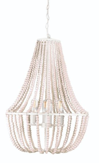 Waco 4 Light White Wooden Bead Pendant Chandelier