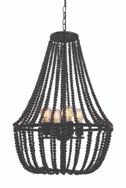 Waco 4 Light Black Wooden Bead Pendant Chandelier