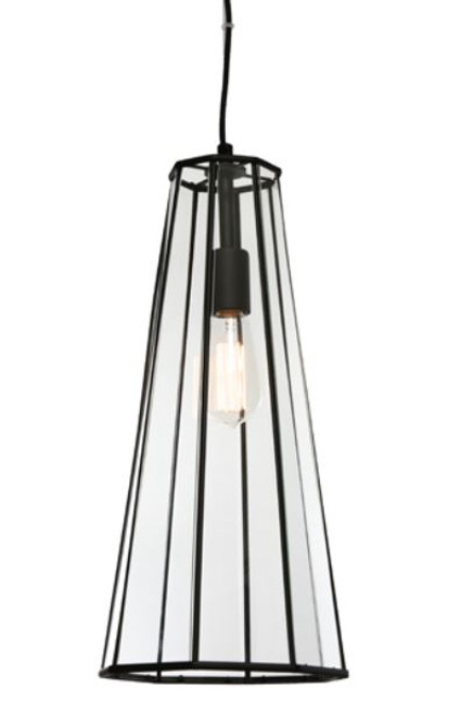 Zerra 1 Light Black Pendant Light
