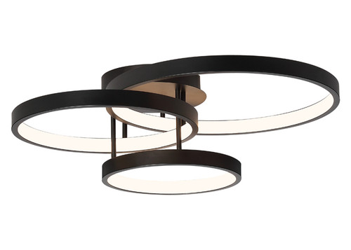 Zaida 3 Light Black Ring Ceiling Light