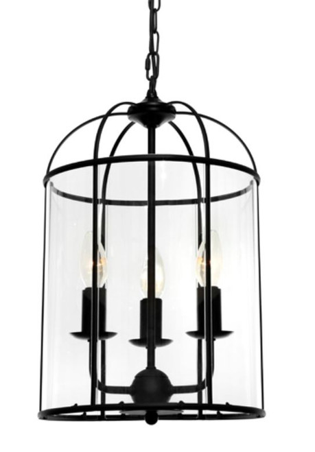 Coakley 3 Light Black Curved Bell Pendant Light