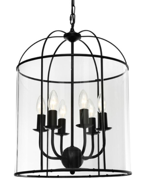 Coakley 6 Light Black Curved Bell Pendant Light
