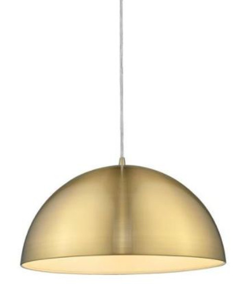 Luna Dome Brushed Brass Metal Pendant Light