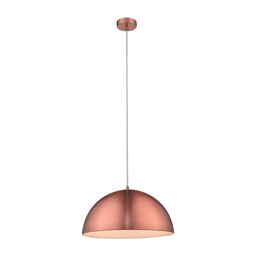 Luna Dome Brushed Copper Metal Pendant Light