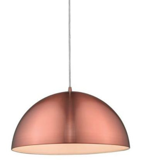 Luna Dome Brushed Copper Metal Pendant Light