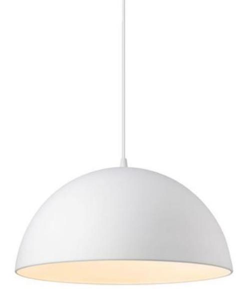 Luna Dome White Metal Pendant Light