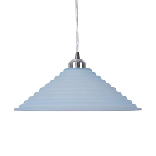 Step Cone Art Deco Frost Glass Pendant Light Large