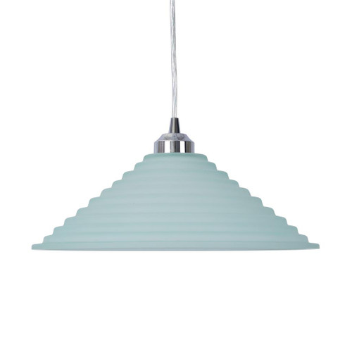 Step Cone Art Deco Blue Glass Pendant Light Large