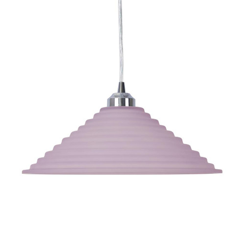 Step Cone Art Deco Pink Glass Pendant Light Large