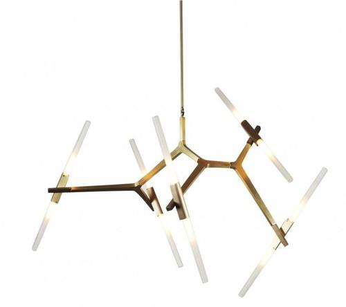 Replica Lustre 10 Bulb Agnes Pendant Light in Brushed Brass