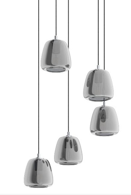 Albarino 5 Light Glass Vaporized Cluster Pendant Light