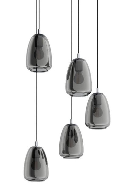 Alobrase 5 Light Smoke Glass Cluster Pendant Light