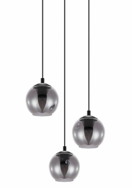 Ariscani 3 Light Smoke Glass Cluster Pendant Chandelier
