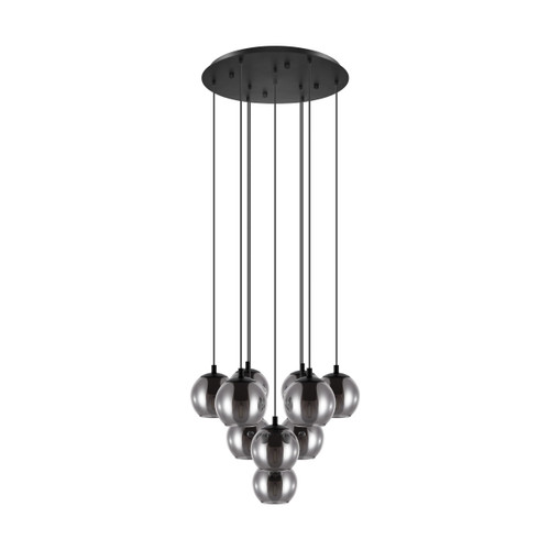Ariscani 10 Light Smoke Glass Cluster Pendant Chandelier