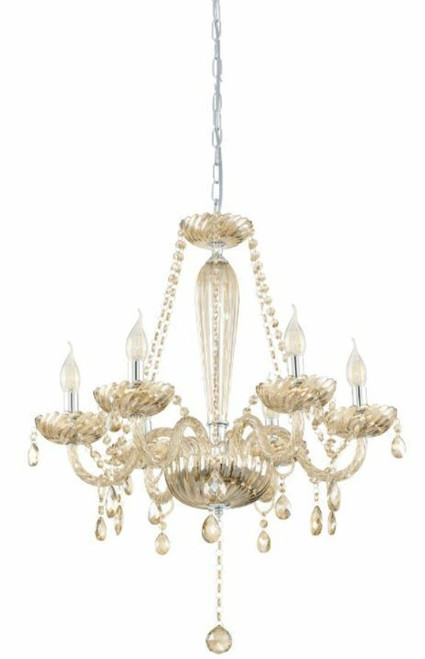 Basilano 6 Light Cognac Glass Traditional Pendant Chandelier