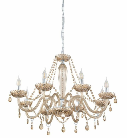 Basilano 8 Light Cognac Glass Traditional Pendant Chandelier