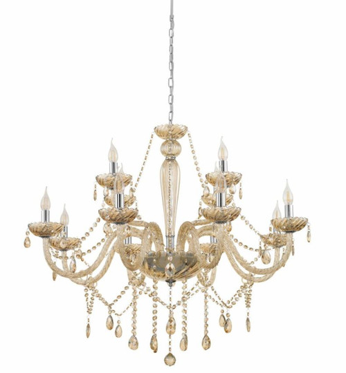 Basilano 12 Light Cognac Glass Traditional Pendant Chandelier