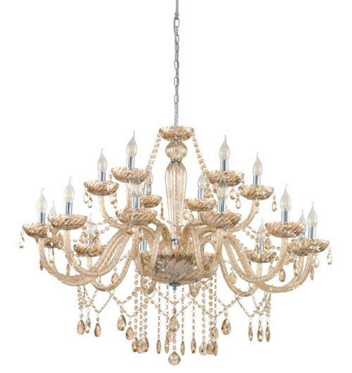 Basilano 18 Light Cognac Glass Traditional Pendant Chandelier