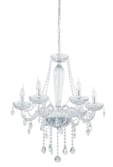 Basilano 6 Light Clear Glass Traditional Pendant Chandelier