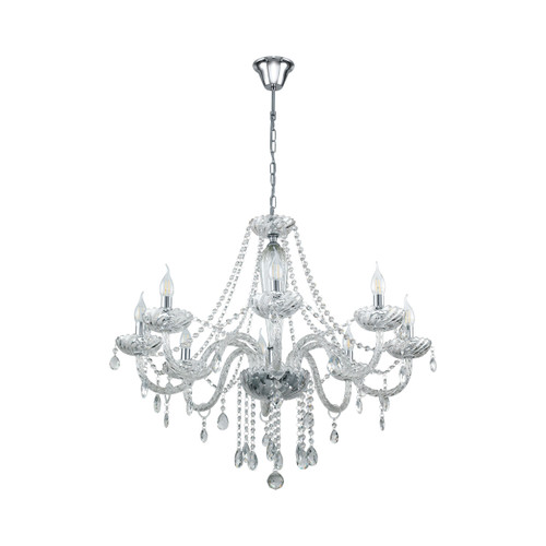 Basilano 8 Light Clear Glass Traditional Pendant Chandelier