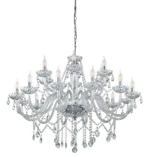 Basilano 18 Light Clear Glass Traditional Pendant Chandelier