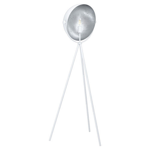 Darnius White and Silver Tripod Moon Floor Lamp