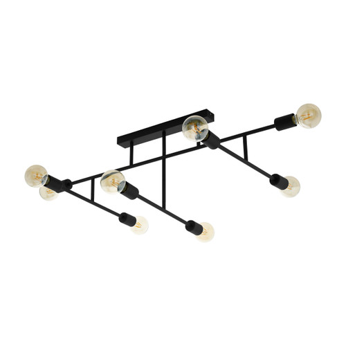 Belsiana 8 Light Black Industrial Close To Ceiling Light