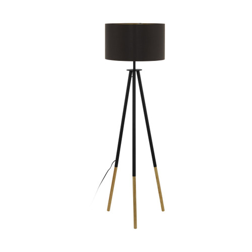 Bidford Black Brown Tripod Floor Lamp